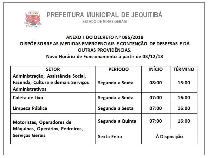 Quadro Horário Jequitibá - Decreto 85-2018