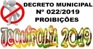 Prefeitura publica decreto com algumas proibições durante o Carnaval 2019