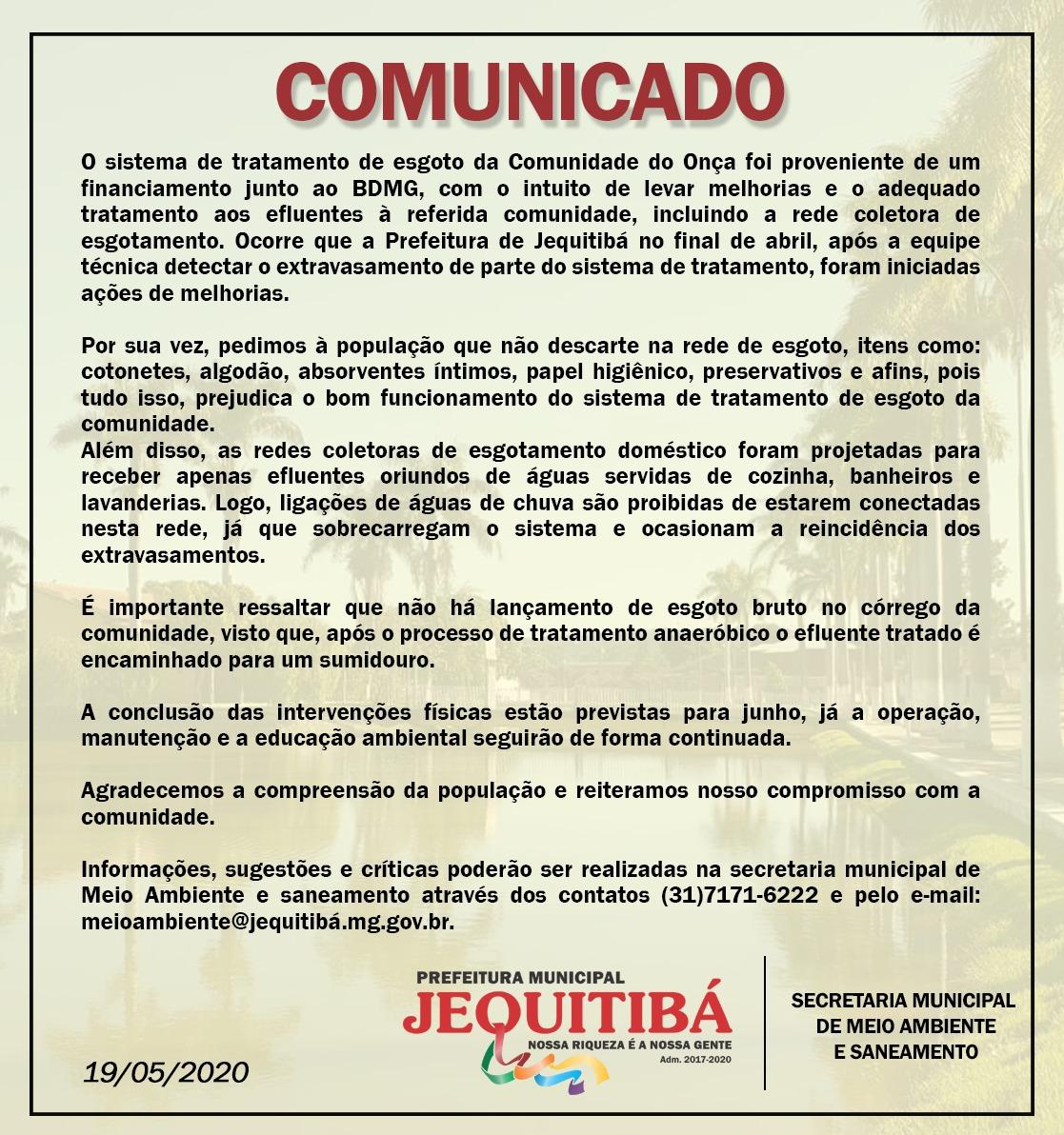 COMUNICADO SECRETARIA MUNICIPAL DE MEIO AMBIENTE E SANEAMENTO